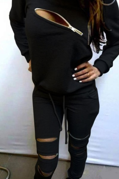 sexy zipper long-sleeved casual set - orangeshine.com