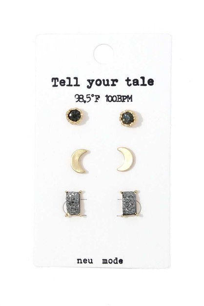MOON SHAPE STUD EARRING SET - orangeshine.com