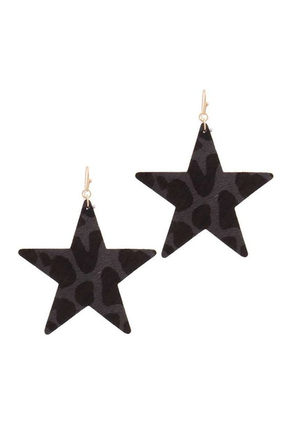 ANIMAL PRINT STAR SHAPE EARRING - orangeshine.com