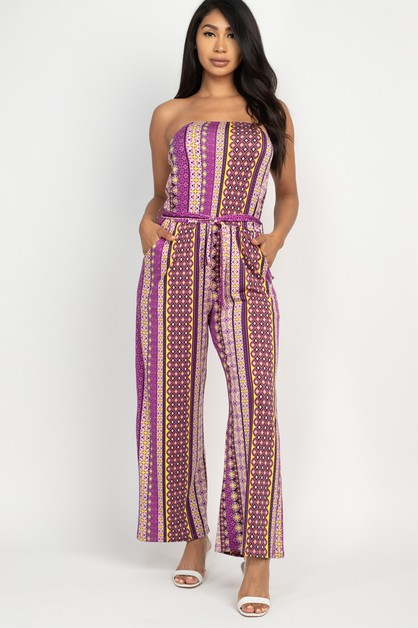 Tube Top Waist Belt Jumpsuit - orangeshine.com