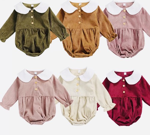 Baby Collared corduroy rompers - orangeshine.com