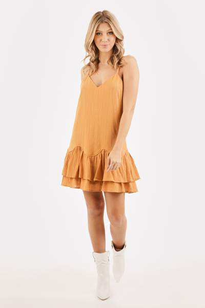 SPAGHETTI STRAP TIERED MINI DRESS  - orangeshine.com