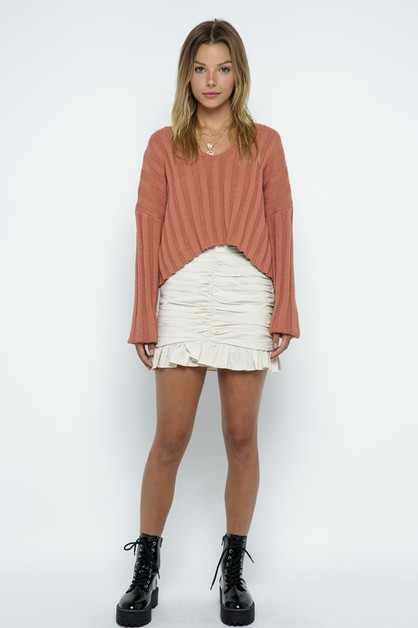 V-Neck Pullover Sweater - orangeshine.com