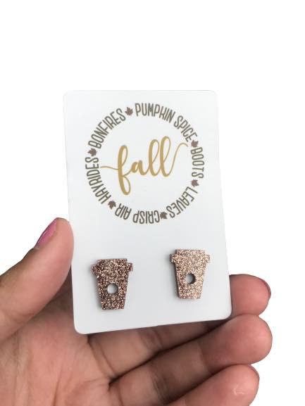 Rose Gold Coffee Cup Studs for Fall - orangeshine.com