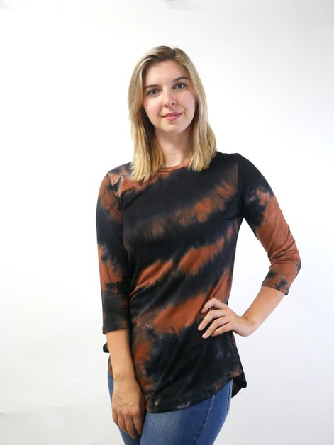 Tie dye Long Sleeve Tunic Top - orangeshine.com