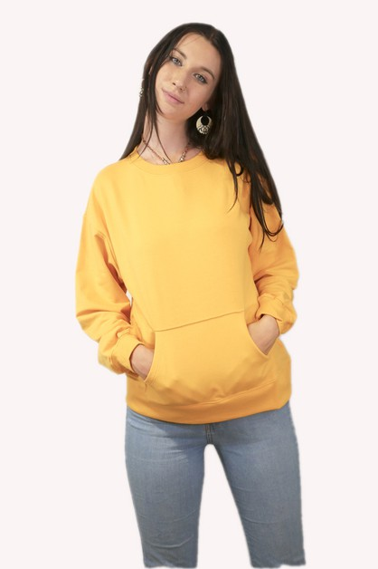 French Terry Pocket Long Sleeve Swea - orangeshine.com