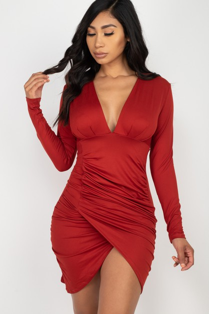 Ruched Wrap Bodycon Dress - orangeshine.com