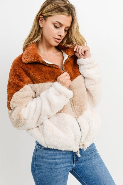 Colorblock Short Fur Jacket - orangeshine.com