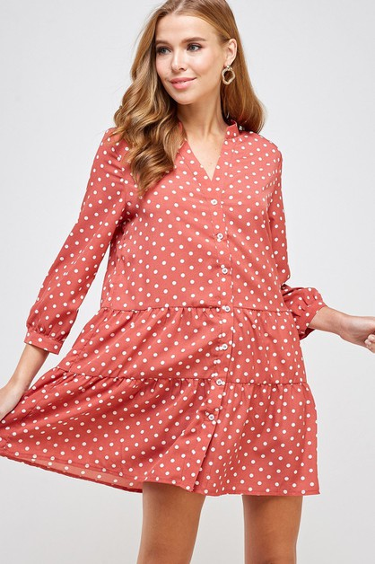 Polka Dot Button Down Tiered Dress - orangeshine.com