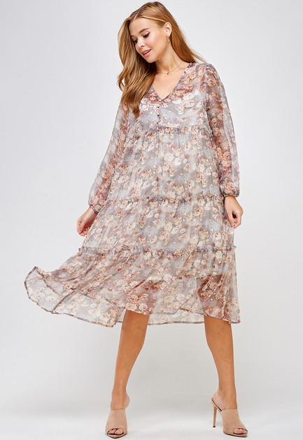 SHEER FLORAL TIERED DRESS - orangeshine.com