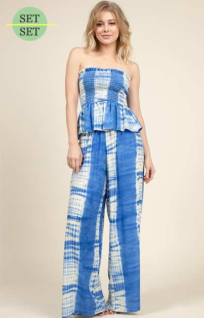 SMOCKING WAIST PALAZZO PANTS SET - orangeshine.com