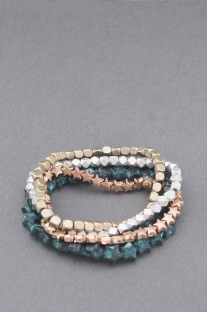MULTI 5 LINE STAR  STRETCH BRACELET - orangeshine.com