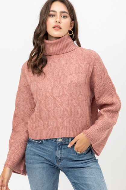 WIDE SLEEVE CABLE SWEATER - orangeshine.com