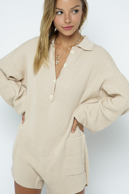 Ribbed Knit Sweater Romper - orangeshine.com