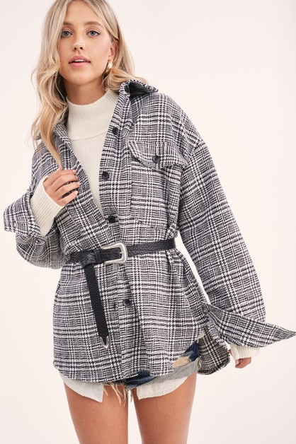 Flap Pocket Plaid Jacket - orangeshine.com