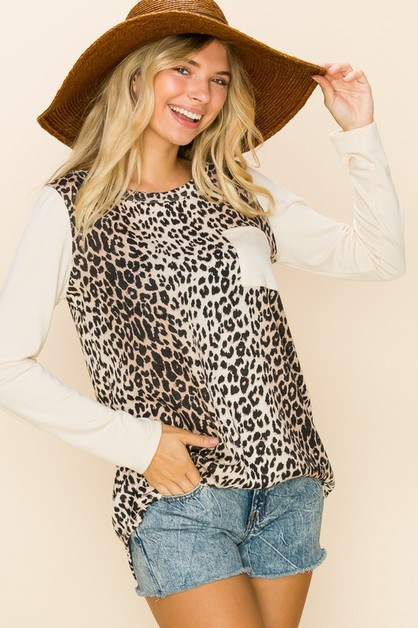 Casual Leopard Printed Pocket Tops - orangeshine.com
