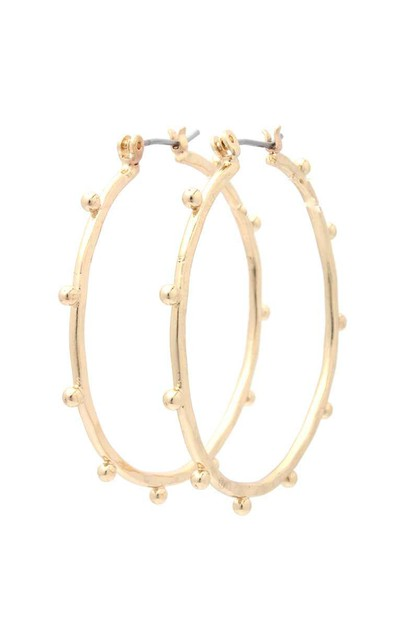 BEADED METAL HOOP EARRING - orangeshine.com