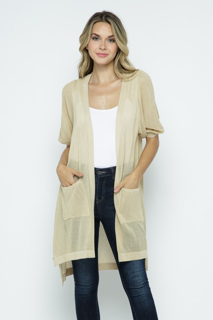 Sheer Long Body Cardigan - orangeshine.com
