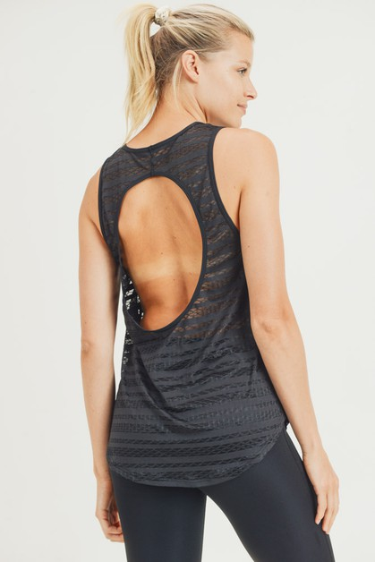 Sheer Lattice Mesh Tank with Back Cutout - orangeshine.com