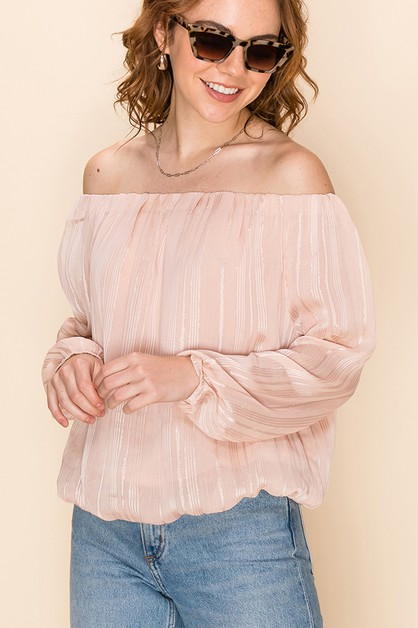 OFF THE SHOULDER TOP WITH BUBBLE SLE - orangeshine.com