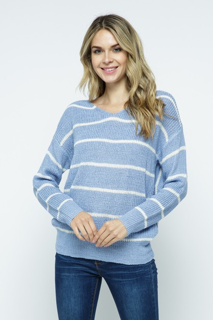 Striped Long Sleeve Sweater - orangeshine.com