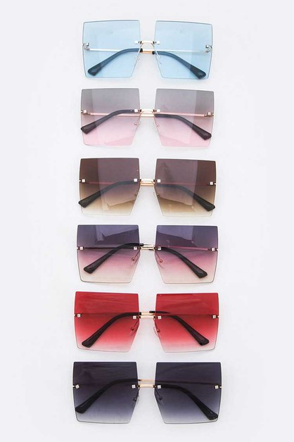 Rimless Square Iconic Sunglasses Set - orangeshine.com