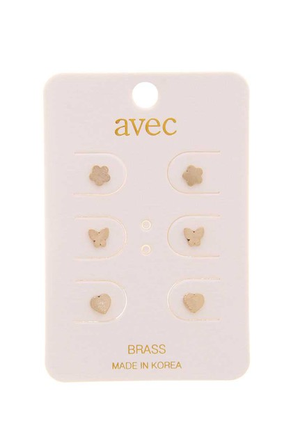 3 PAIR CUTE STUD EARRING SET - orangeshine.com