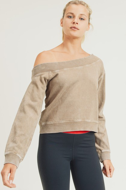 Off-Shoulder Hi-Lo Mineral-Wash Pullover - orangeshine.com