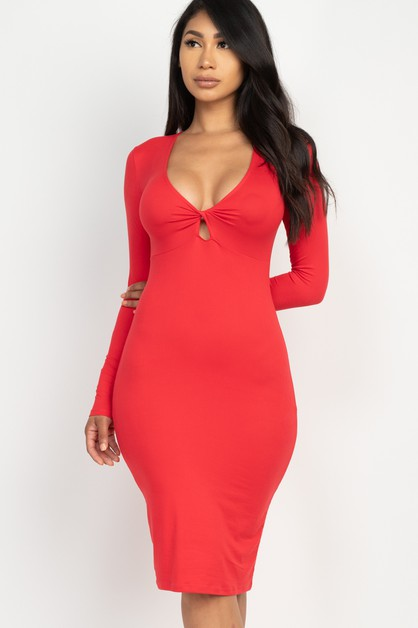 Front Twist Bodycon Midi Dress - orangeshine.com