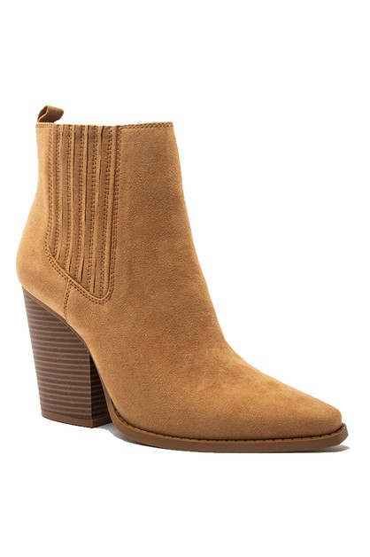 SUEDE POINTY HIGH HEEL ANKLE BOOTIE  - orangeshine.com
