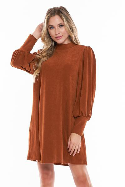 CORDUROY LONG BALLOOM SLV DRESS - orangeshine.com