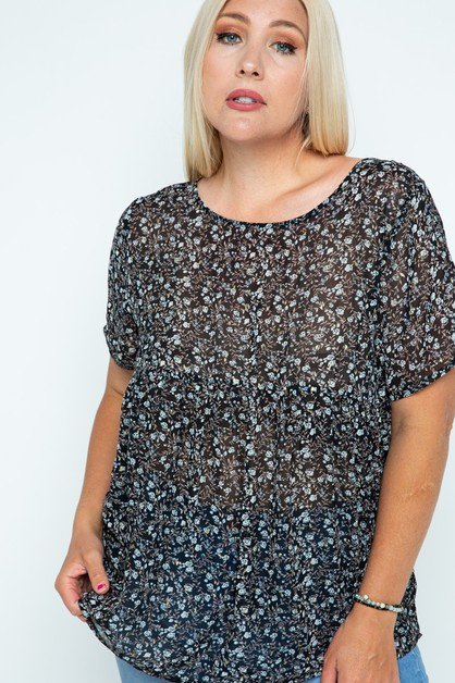 Floral Foiled Tunic Top Back Keyhole - orangeshine.com
