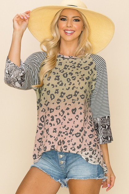 Relaxed Cute Cheetah Print Top - orangeshine.com