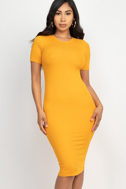 Ribbed Bodycon Midi Dress - orangeshine.com