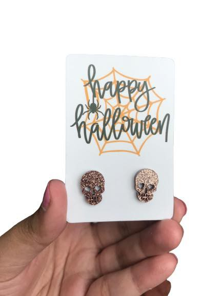 Skull Stud Earrings for Halloween - orangeshine.com
