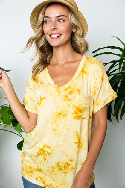 TIE DYE V NECK POCKET BOXY TOP       - orangeshine.com