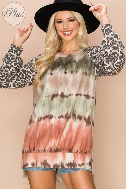 Relaxed Tie-Dye Print Top  - orangeshine.com