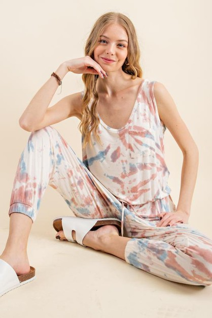 TWO SOFT HUE TIE DYE POCKET JUMPSUIT - orangeshine.com