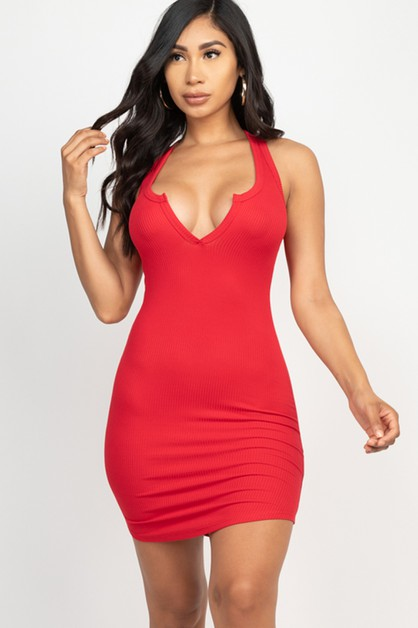 Split Neck Bodycon Mini Dress - orangeshine.com