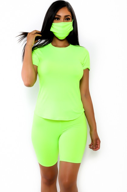 3 PC  SHORT SET WITH MASK - orangeshine.com