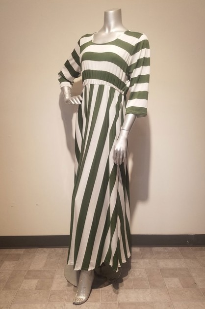 Striped maxi dress a line silhouette - orangeshine.com