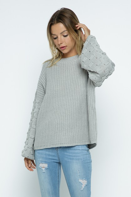 Cotton Soft Bubble Embellish Sweater - orangeshine.com