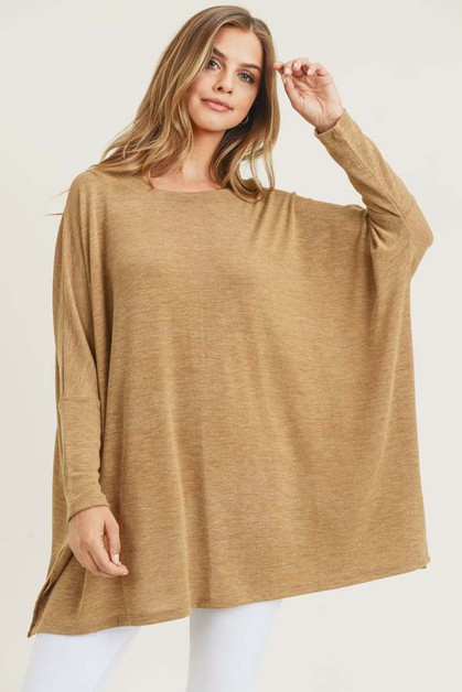 Oversized Dolman Sleeve Tunic Top - orangeshine.com
