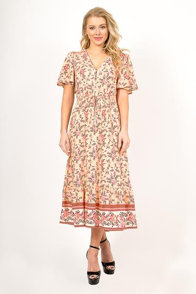 FLORAL PRINTED MIDI DRESS - orangeshine.com