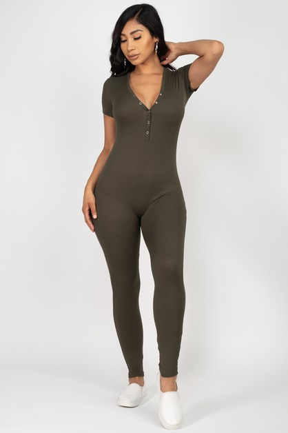 Button Down Bodycon Jumpsuit - orangeshine.com