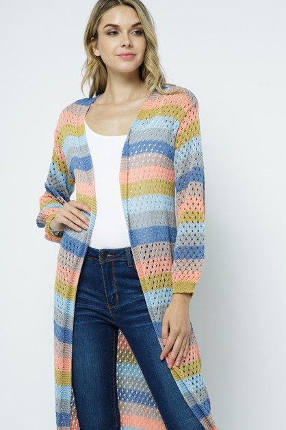 Striped Perforated Cardigan - orangeshine.com