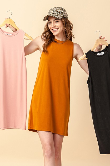 CREW NECK SLEEVELESS SHIFT MINI DRES - orangeshine.com