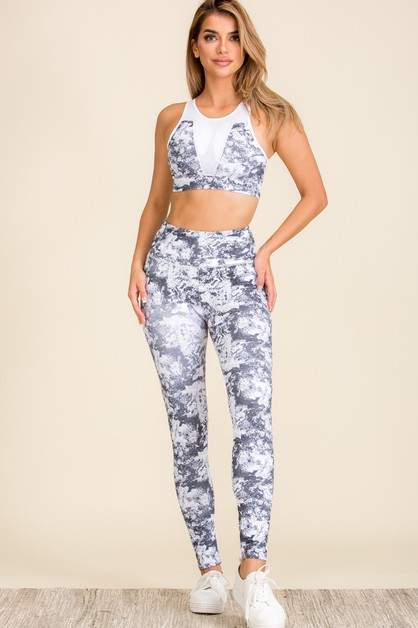 Women Marble Print Activewear Set - orangeshine.com
