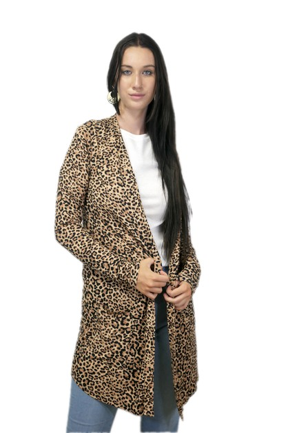 Leopard Long Sleeve Pocket Cardigan  - orangeshine.com