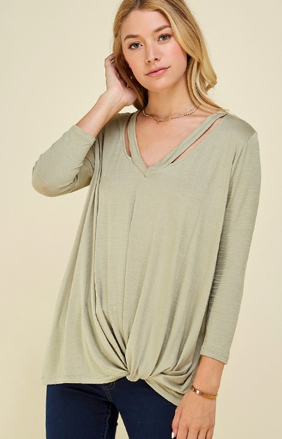 OPEN V NECK BAND SIDE RUCHED TOP - orangeshine.com